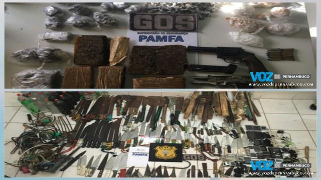 Munições, armas e diversos materiais foram apreendidos em revista no Complexo do Curado